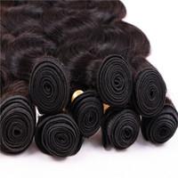 Vücut Dalga Remy Saç Atkı 3 Bundle Lot% 100% İnsan Saç Örgüleri Brezilyalı Perulu Saç Uzantıları Doğal Renk 1B 12-28 Inç