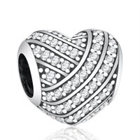 New Pave Clear Crystal Love Lines Charms Bead Autentico 925 Sterling Silver Heart Beads per monili che fanno DIY braccialetti di marca Accessori