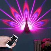 Peacock Led Lights 3D LED Projection Lamp Romantic Night Wal...