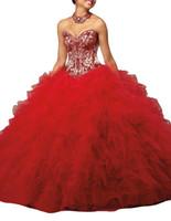 Quinceanera 드레스 레드 스커트 멀티 레이어 그물 로터스 리프 가장자리 심장 모양의 칼라 스트랩, 블라우스, 샴페인, 무거운 손으로, 저렴한 메일.