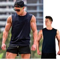 Algodão dos homens Solto Ginásio Esportes Tops Para O Sexo Masculino Preto Aptidão Execução Casual Grande Ombro Sem Mangas T-Shirts Coletes Undershirt