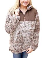 Настоящий песок Frosty Tipp Uplander пуловер из флиса шерпы коричневый свитер горячий стиль мягкий шерпа пуловер сплошной цвет карман мягкая молния шерпа жилет