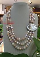 """Livraison gratuite pour femme New Baroque 19 """"3row 8-9mm Rose gris blanc multicolore perles de couleur collier fermoir"""