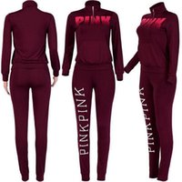 PINK Letter Tracksuit Long Sleeve Sweatshirt Pant Sets Women...