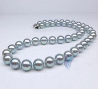 Nizza 10-11mm Natural South Seas Grey Pearl Necklace 18inch 925 Silver