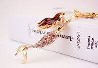 Mermaid Sea- maid Keychain - Metal Rhinestone Key Chains Ring...