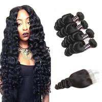 Ishow 8A Brazilian Hair Loose Wave 4 Pcs with 4x4 Lace Closu...