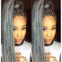 Stock Black To Grey Ombre Braid Synthetic Lace Front Wigs Br...