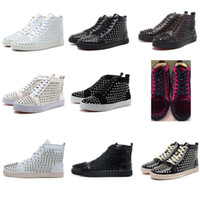Original shoebox Studded Spikes Flats shoes hight cut Red Bo...