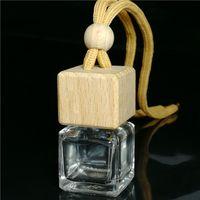 8ml bottiglie di profumo per auto in legno tappo a vite in vetro bottiglia vuota con appendere corda per decorazioni auto deodorante