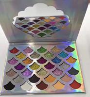 شحنة على مدار 24 ساعة Cleof مستحضرات التجميل The Mermaid Glitter Palette Shimmer Eye Makeup 32 لون ظلال العيون لوحة مع مرآة