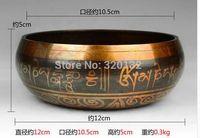 ÜCRETSIZ NAKLIYE Nepal YOGA OUTSTANDING OLD CHAKRA TIBETAN SINGING BOWL 12 cm Çap Toptan bronz Çanaklar