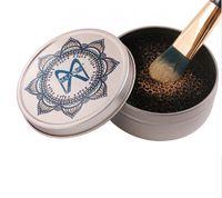 4 teile / los Farbe Aus Make-Up Pinselreiniger Schwamm Entferner Aluminium Make-up Pinsel Reinigungsmatte Box Clean Kit