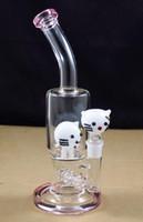Tubulação de bong de água de vidro rosa de 11,5 polegadas com cabeça de gato INLINE perc para senhora e menina