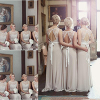 Cheap Long Bridesmaid Dresses For Wedding Country Long Chiffon A-Line Backless Formal Dresses Party Lace Modest Maid Of Honor Dress
