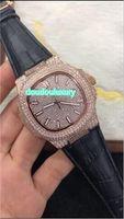 Top moda uomo orologi in oro rosa diamante popolare vendita calda orologio cinturino in pelle nera impermeabile orologio automatico