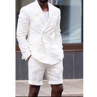 Trajes de lino blanca del hombre con el doble de pecho chaqueta de los pantalones cortos del verano de dos piezas de estilo casual masculino de la boda chaqueta esmoquin novio