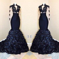 2018 Black Girls Gorgeous Mermaid Long Sleeves Prom Dresses ...