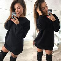 Estate sexy del O Collo vestito solido Bianco Nero Mini allentato maglietta vestito casuale Abbigliamento Donna
