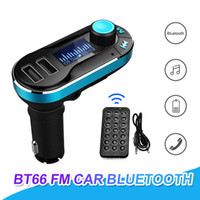BT66 Receptor Sem Fio Transmissor FM Bluetooth Hands Free Car Kit Adaptador de Rádio MP3 Player 2.1A Dual USB Carregador de Carro Com Retail Pakcage