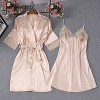 MECHCITIZ 2018 pijamas das mulheres sexy lace flor rosa de seda robe vestido define M L XL three size nighties roupão + vestido de noite