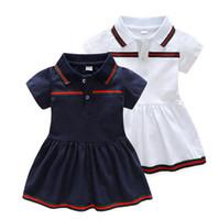 아기 소녀 짧은 소매 아동 셔츠 패션 소녀 복장 소녀 녹색 줄무늬 아동 의류 인과 드레스