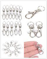 10pcs / lot 실버 메탈 클래식 열쇠 고리 DIY 가방 보석 반지 회전 가재 걸쇠 클립 열쇠 고리 열쇠 고리 분할 반지 도매