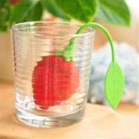 Food-Grade Silicone Aardbei Design 1 st Losse theeblad Steiler Herbal Spice Infuser Filter Tools Promotie Promotie