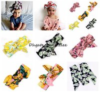 Ins enfants filles Bohême coton coton bandeau nouvelle bonne qualité bébé fille arc fleur imprimé Turban tête Wrap arc noeud doux