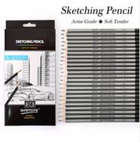 Mejor calidad 12 / 24Pcs 9H-14B Set Dibujo Sketching Lápiz Suave y seguro no tóxico Lápices estándar Oficina profesional Lápiz de la escuela