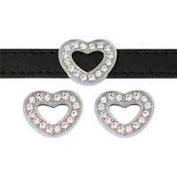 10mm Bling Bling Strass Completo Charms Scivolo Cuore Fit 10mm Wristband BraceletPet Collare DIY Diapositiva Charms Creazione di Gioielli SL542