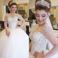 Disse Mhamad 2020 Vestidos de Noiva Árabe Dubai Para Noiva Robes vestido de Baile Sheer Manga Comprida Tule Vestido De Noiva robe de mariage