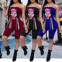 238e122f083 Women Summer Strapless Rompers Keen Length Skinny Sexy Prited Trendy  Jumpsuits One-Piece Stretch Siamese Trousers Leggings