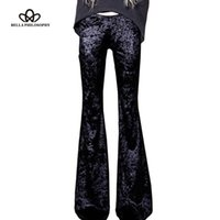 Белла философия 2017 весна ретро силм высокой талией бархат flare брюки эластичные старинные брюки женщин осень длинные брюки