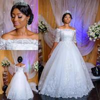 Арабские Нигерийские Кружевные свадебные платья с рукавами Половины Sheer шеи Backless Свадебных платьев зашнуровать назад Поезд стреловидности выполненный на заказ
