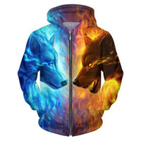 Ice and Fire 3D Wolf Zipper Hoodies Unisex Zip Up Sweatshirt...