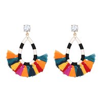 Wholesale Brand New cotton tassel earrings fashion women sta...