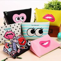 Women Makeup Bags Cartoon Cute Lip Handbag Clutch Bags Water...