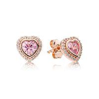 S925 Sterling Silber Rosa Liebe Herz 18K Rose Gold plattiert Ohrring mit Original-Box Fit Pandora Schmuck Ohrstecker Frauen Hochzeitsgeschenk