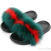 df951740db3 Wholesale- new fashion Women s Furry Slippers Ladies Cute Plush Real Fox Fur  Fluffy Slippers Women s Fur Winter Warm Slippers for Women Hot