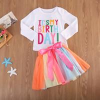 Nouveauté Mode bébé Vêtements enfants Vêtements tout-petits ensembles Beau T-shirt coloré Tutu Jupe Robe Outfit coton mignon robe fille