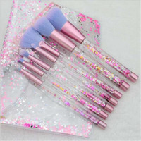 7pc Glitter Crystal Makeup Brush Set Diamond Pro Highlighter...