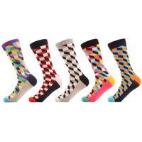 5 par / lote calcetines de algodón peinado para hombres calcetines divertidos coloridos coloridos calcetines casuales vestido de fiesta feliz calcetines locos