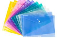 200pcs أكياس ملف المستند A4 مع زر المفاجئة شفافة الإيداع المغلفات البلاستيكية ملف ورقة المجلدات C157