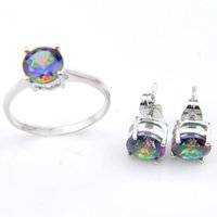 Новое прибытие 2 Цвет мода свадебные аксессуары красочные Кристалл ювелирные изделия кольца серьги для влюбленных ювелирные наборы Бесплатная доставка Z0001