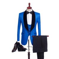 Kırmızı / Mavi Baskılı Adam Şal Yaka Şal Yaka Damat smokin 3 PSC Sağdıç Suit Düğün elbise Terzi Suit Blazer Takımları