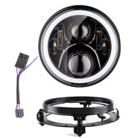 Black Silver 7 Inch Round LED Headlight Extension Mounting B...