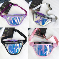 50pcs 2018 PU Transparent Jelly Holographic Fanny Pack Laser...