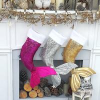 Noel Süs Mermaid Çorap Hediye Paketi Noel Ağacı Kolye Pullu Mermaid kuyruk Çorap Hediye Çantası Yeni Stil
