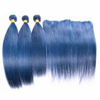 실키 스트레이트 인간의 머리 위사 3pcs 레이스 정면 순수한 푸른 색 머리카락 묶음 귀에 귀 레이스 정면에 귀